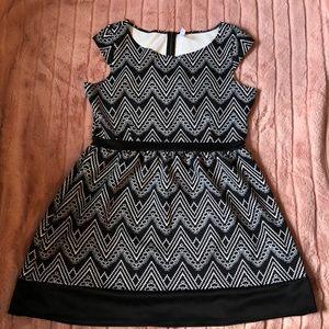 tribal pattern black and white dress